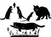 Set of playing cats vector — Stock Vector
