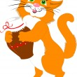 Stock Vector: Red cat with a jug of milk