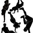 Breakdance silhouette break dance — Stock Vector