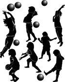 Children playing ball — Stock Vector