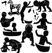 Bathing baby dad little children — Stock Vector