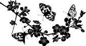 Gałązka wiśni kwiaty i motyle — Wektor stockowy