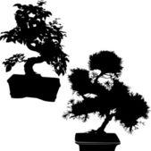Siluet ot ağaçlar — Stok Vektör