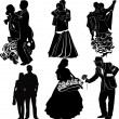 Silhouettes symbolizing dancing and relationships of  partners — Stock Vector #41428223