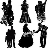 Silhouettes symbolizing dancing and relationships of  partners — Stock Vector