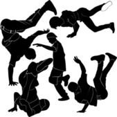 Break dancers silhouettes — Stock Vector