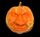 Human expression on the orange Halloween pumpkin — Stock Photo