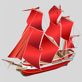 Red sailboat — Stock Vector