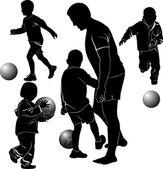 Adam ve çocuklar top oynuyor — Stok Vektör