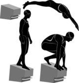 Zwemmers — Stockvector