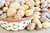 Mixed nuts in the basket — Stock Photo