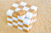 Cube of brown and white sugar cubes — Stock Photo