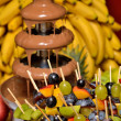 Dipping fruits into a Chocolate Fountain — Stock Photo