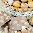 Chocolate with nuts closeup — Stock Photo