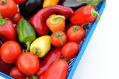 Different fresh vegetables in a box — Stock Photo