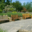 English garden benches — Stock Photo