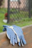 Blue garden gloves — Stock Photo