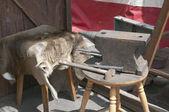 Yunque y martillo de herrero al aire libre — Foto de Stock