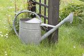 Metal watering can in garden — Stock Photo
