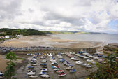 Low tide at Saundersfoot harbour — Foto de Stock