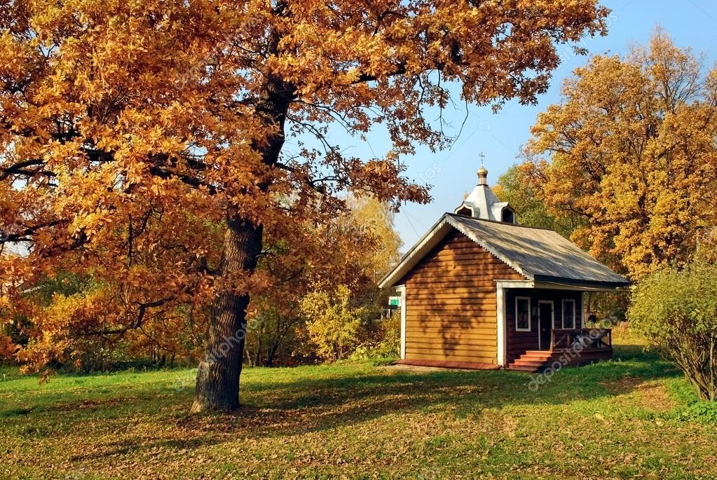 Une petite maison dans la for t dautomne photographie - Casitas en el bosque ...