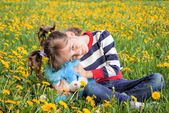 Child portrait with a toy — Stockfoto