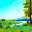 Cows and horse on to the meadow - Stock Vector