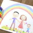 Kids drawing happy family — Stock Photo #19024481