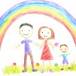 Kids drawing happy family — Stock Photo #19024515