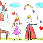 Kids drawing princess and prince — Stock Photo #19024529