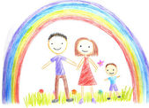 Kids drawing happy family — Foto Stock