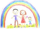 Kids drawing happy family — Stock Photo