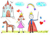 Kids drawing princess and prince — Stock Photo