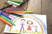 Kids drawing happy family — Foto de Stock
