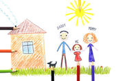 Kids drawing happy family near their house — Stock Photo