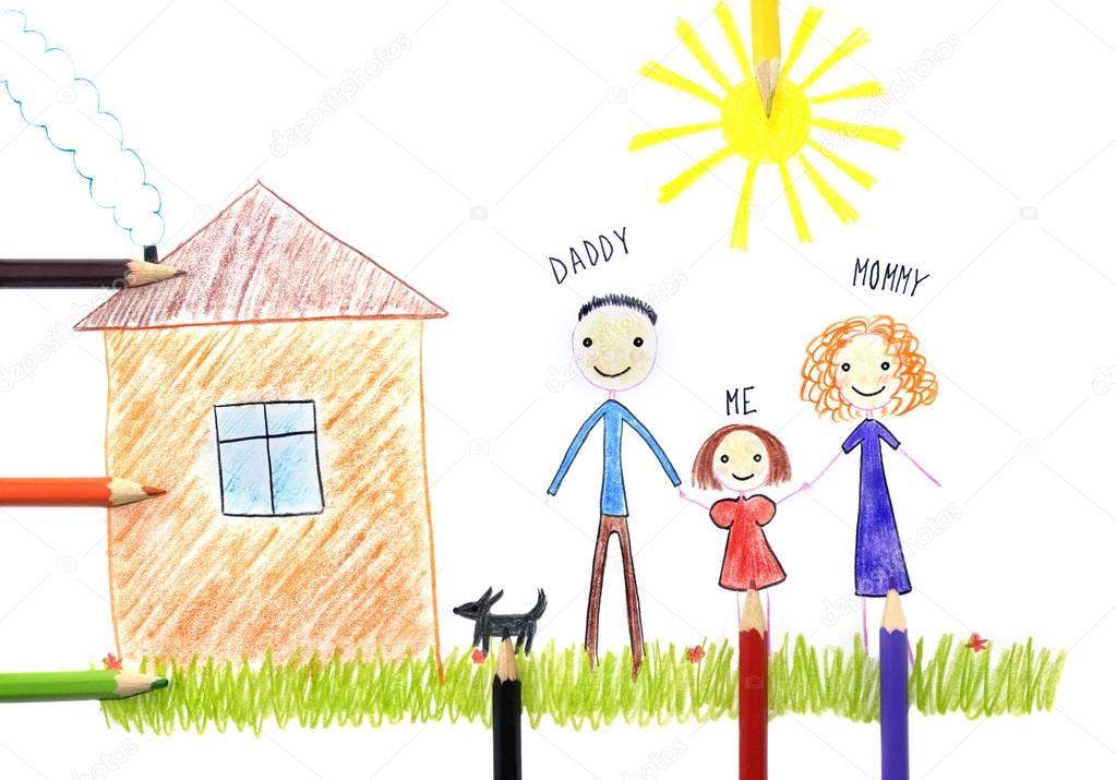 Kids House Drawing Kids Drawing Happy Family Near