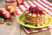 Pile of pancakes in the white plate — Stock Photo