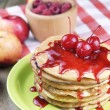 Stock Photo: Pile of pancakes in white plate