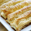 Just baked crunchy puff pastry — Photo