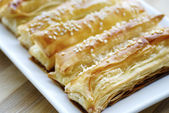 Just baked crunchy puff pastry — Stock Photo
