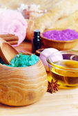 Spa setting with natural soap and sea salt — Foto Stock