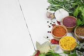 Different kinds of seasonings and herbs — Stock Photo