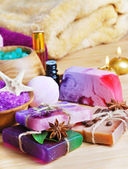 Spa setting with natural soap and sea salt — Stock Photo
