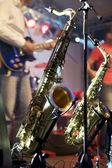 Saxophone on Stage — Stock Photo
