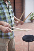 Drummer with Sticks — Stock Photo