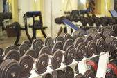 Weights in a Fitness Room — Stock Photo