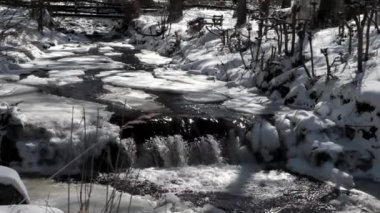 Stream in Winter — Stok video