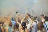 Holi Festival with many people — Stock Photo