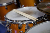 Drumsticks on a drumset — Stock Photo
