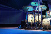 Drumset on stage for a live concert — Stock Photo